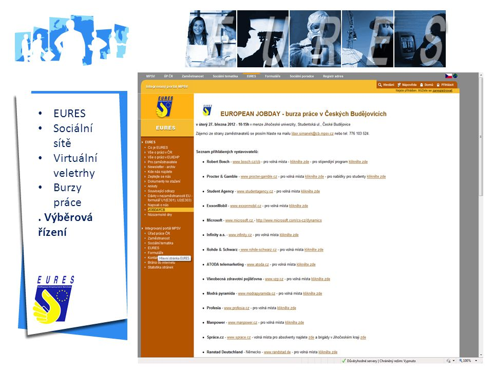 EURES Sociální sítě Virtuální veletrhy Burzy práce . Výběrová řízení
