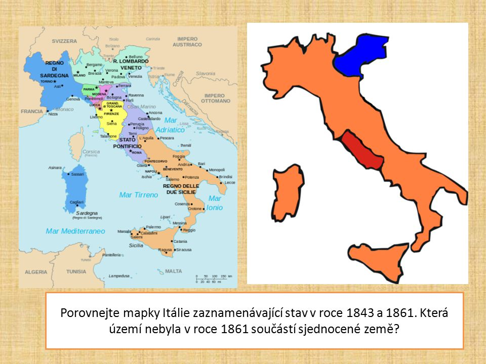Porovnejte mapky Itálie zaznamenávající stav v roce 1843 a 1861