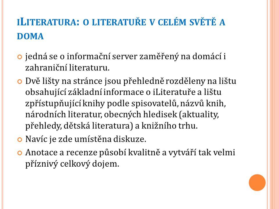 iLiteratura: o literatuře v celém světě a doma