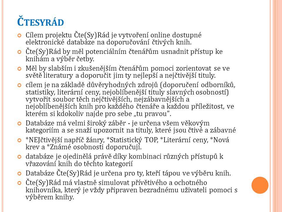 Čtesyrád Cílem projektu Čte(Sy)Rád je vytvoření online dostupné elektronické databáze na doporučování čtivých knih.