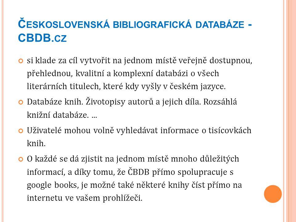 Československá bibliografická databáze - CBDB.cz