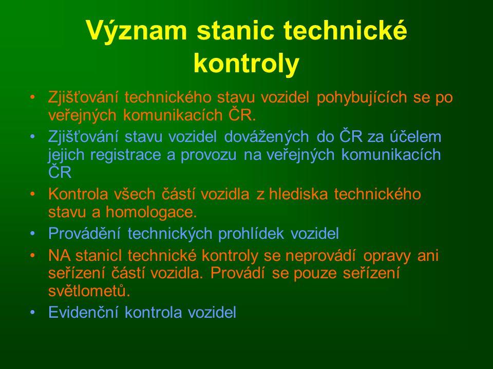 Význam stanic technické kontroly