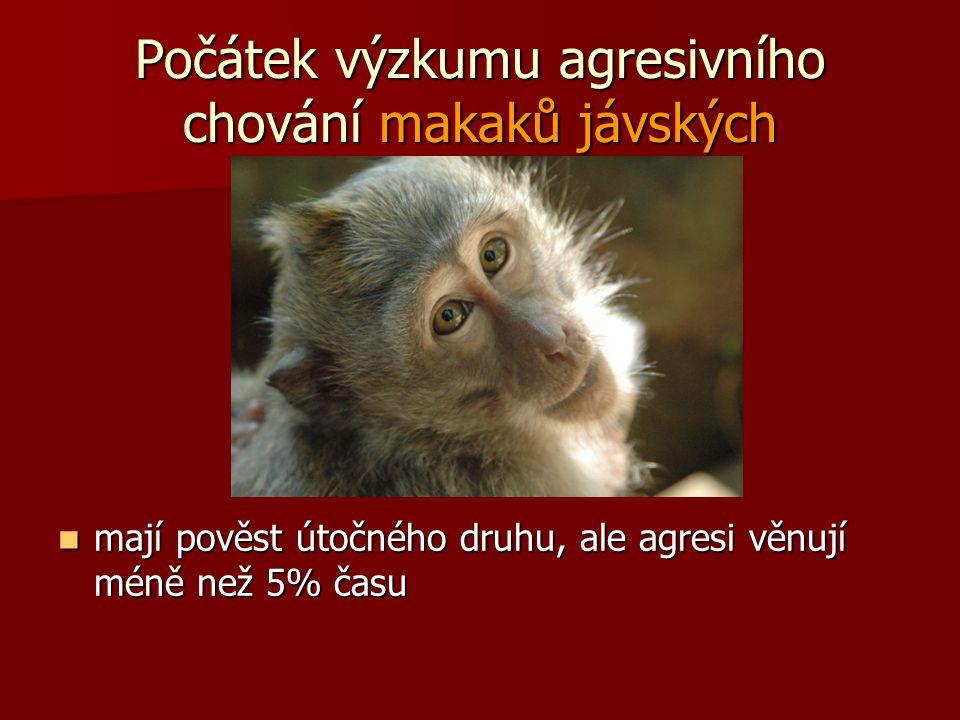 Počátek výzkumu agresivního chování makaků jávských