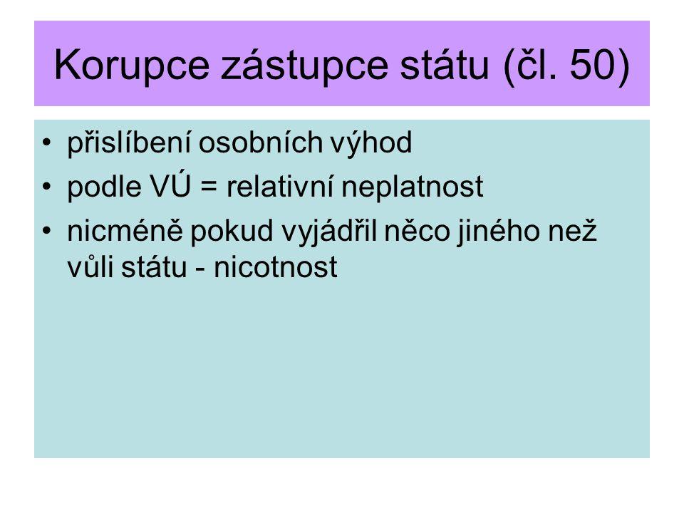 Korupce zástupce státu (čl. 50)