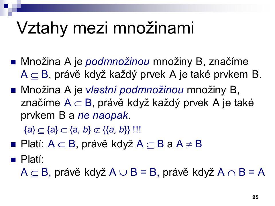 Vztahy mezi množinami Množina A je podmnožinou množiny B, značíme A  B, právě když každý prvek A je také prvkem B.