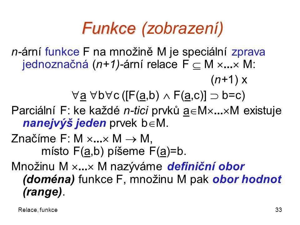 Funkce (zobrazení) n-ární funkce F na množině M je speciální zprava jednoznačná (n+1)-ární relace F  M ... M: