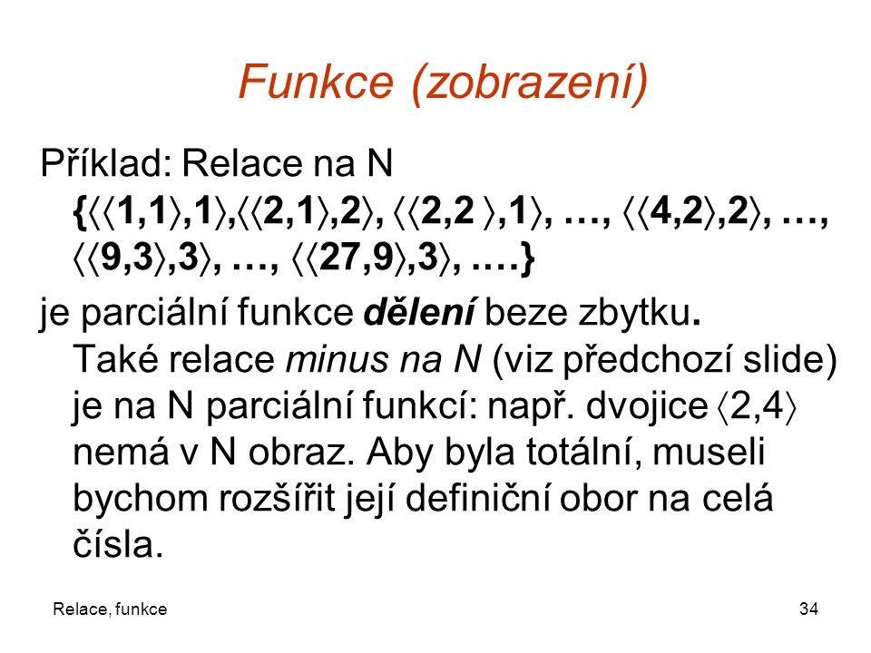 Funkce (zobrazení) Příklad: Relace na N {1,1,1,2,1,2, 2,2 ,1, …, 4,2,2, …, 9,3,3, …, 27,9,3, .…}