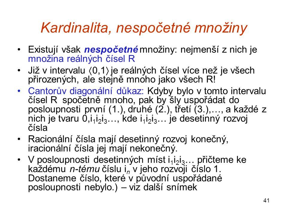 Kardinalita, nespočetné množiny