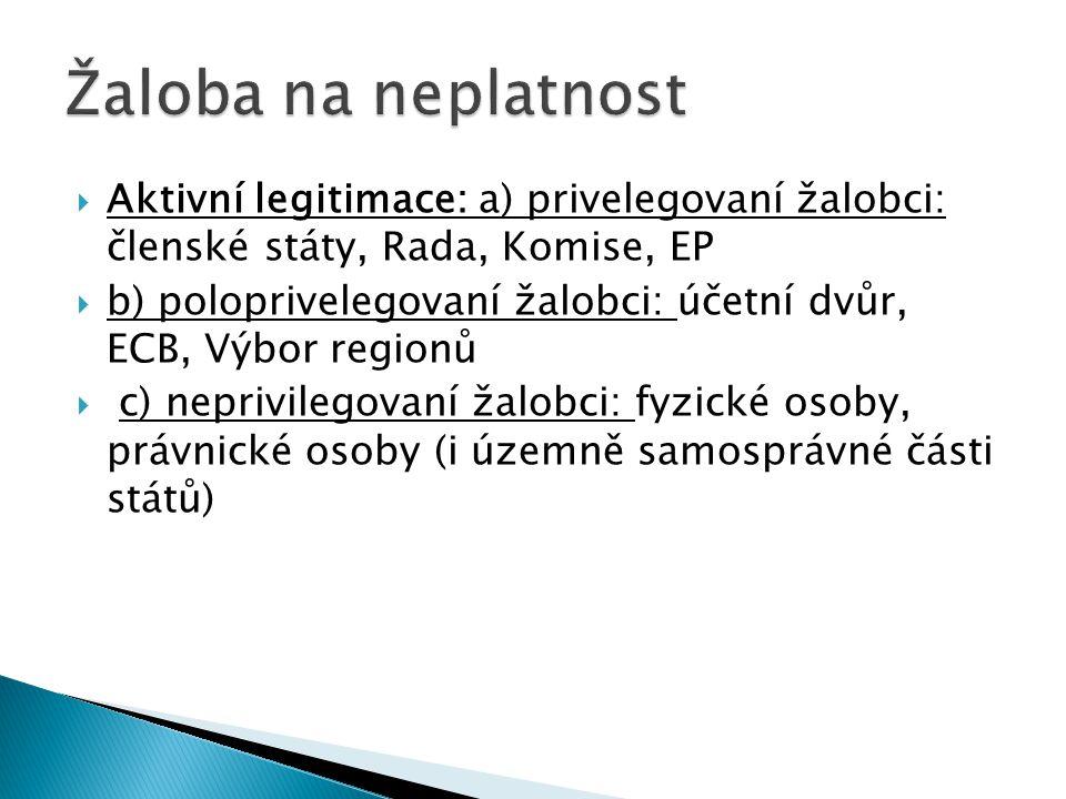 Žaloba na neplatnost Aktivní legitimace: a) privelegovaní žalobci: členské státy, Rada, Komise, EP.
