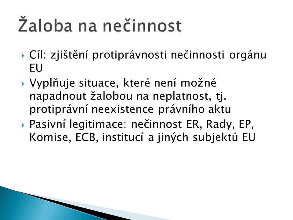 Žaloba na nečinnost Cíl: zjištění protiprávnosti nečinnosti orgánu EU