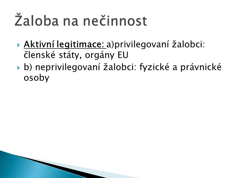 Žaloba na nečinnost Aktivní legitimace: a)privilegovaní žalobci: členské státy, orgány EU.