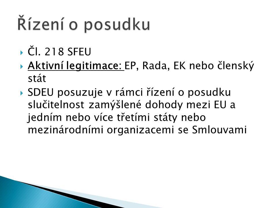 Řízení o posudku Čl. 218 SFEU