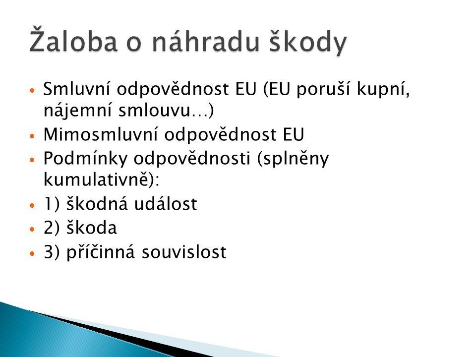 Žaloba o náhradu škody Smluvní odpovědnost EU (EU poruší kupní, nájemní smlouvu…) Mimosmluvní odpovědnost EU.