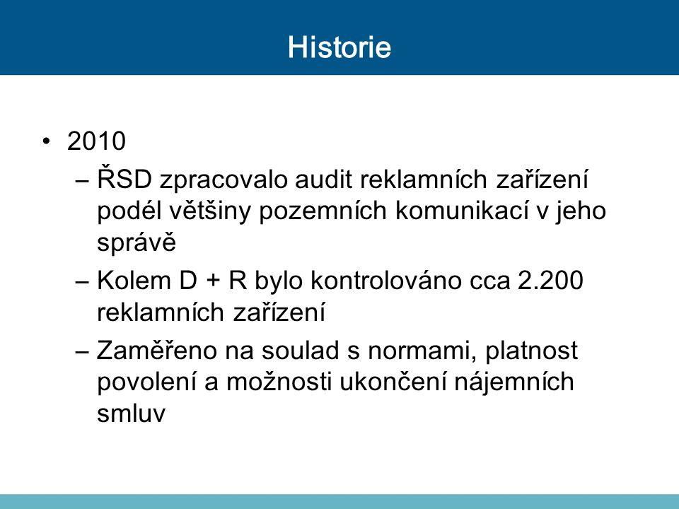 Historie 2010. ŘSD zpracovalo audit reklamních zařízení podél většiny pozemních komunikací v jeho správě.