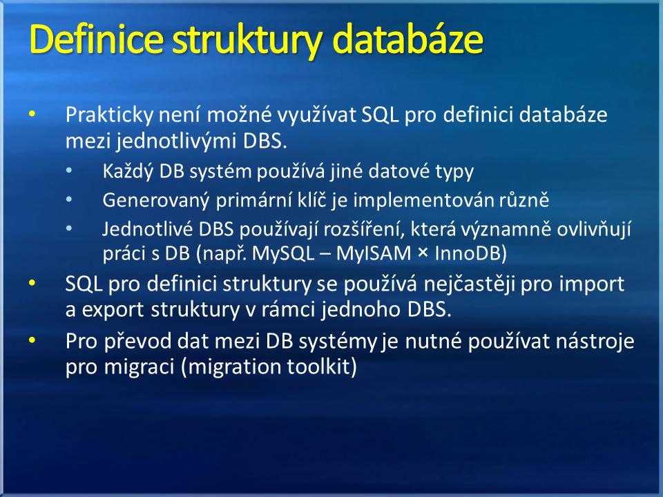 Definice struktury databáze
