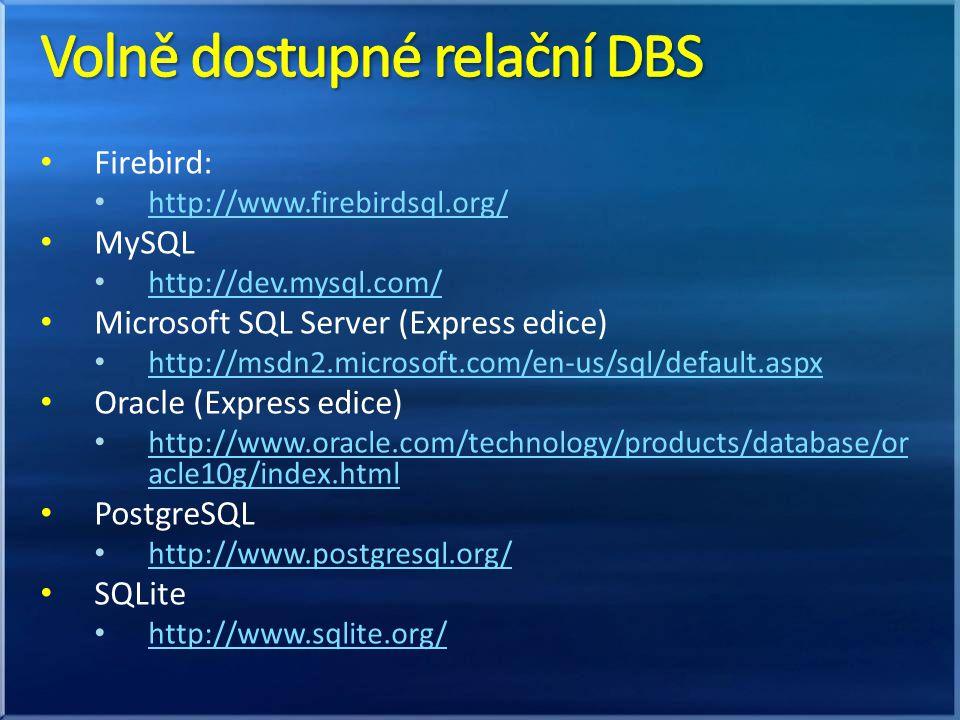 Volně dostupné relační DBS