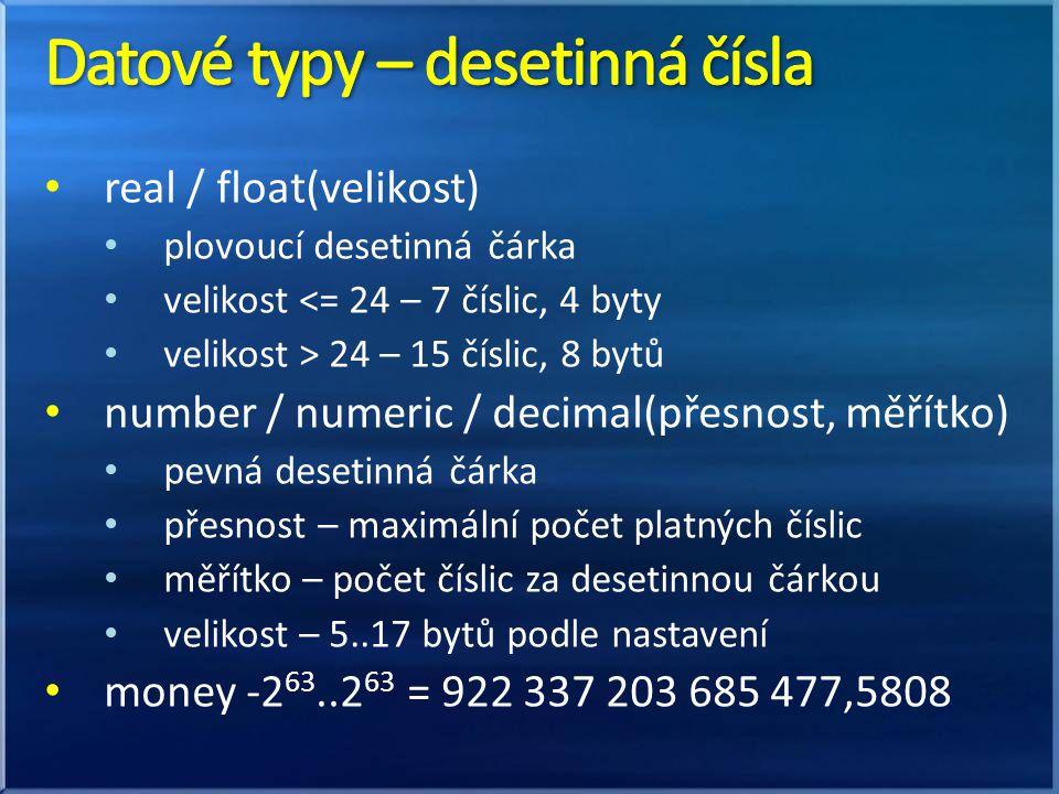 Datové typy – desetinná čísla
