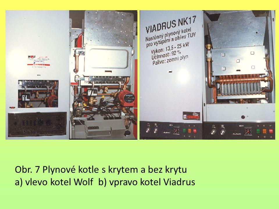 Obr. 7 Plynové kotle s krytem a bez krytu a) vlevo kotel Wolf b) vpravo kotel Viadrus