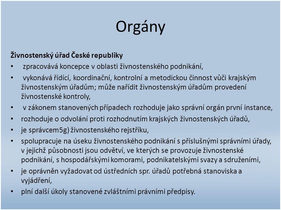 Orgány Živnostenský úřad České republiky