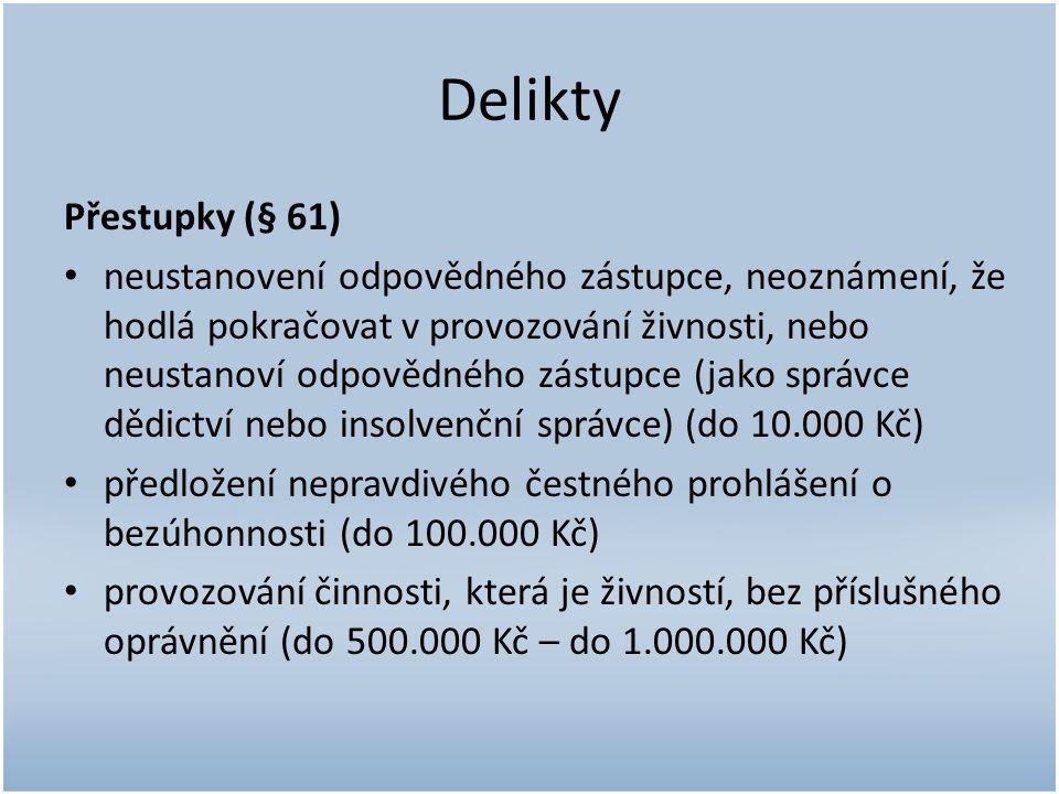 Delikty Přestupky (§ 61)
