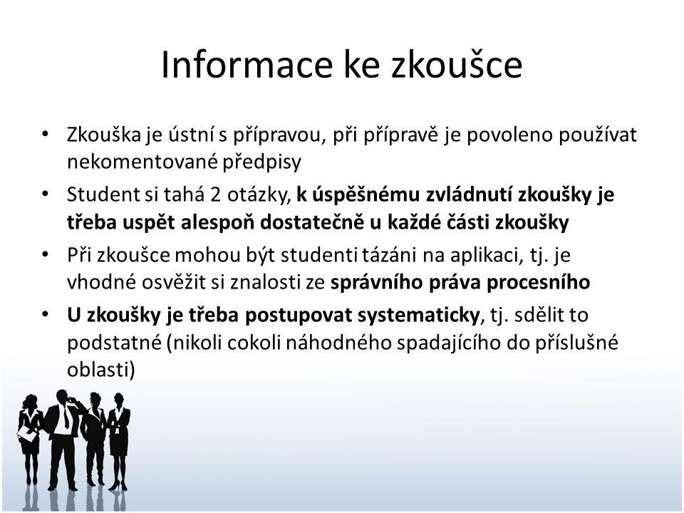 Informace ke zkoušce Zkouška je ústní s přípravou, při přípravě je povoleno používat nekomentované předpisy.