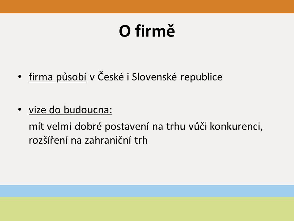 O firmě firma působí v České i Slovenské republice vize do budoucna: