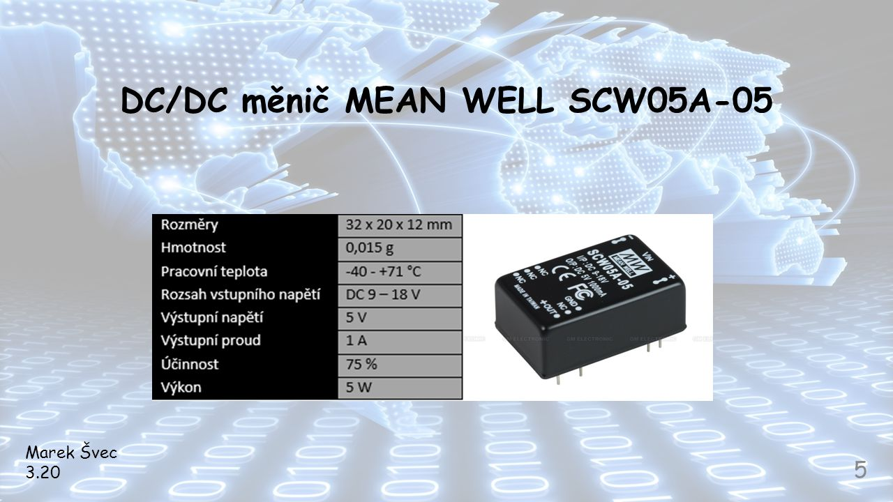 DC/DC měnič MEAN WELL SCW05A-05