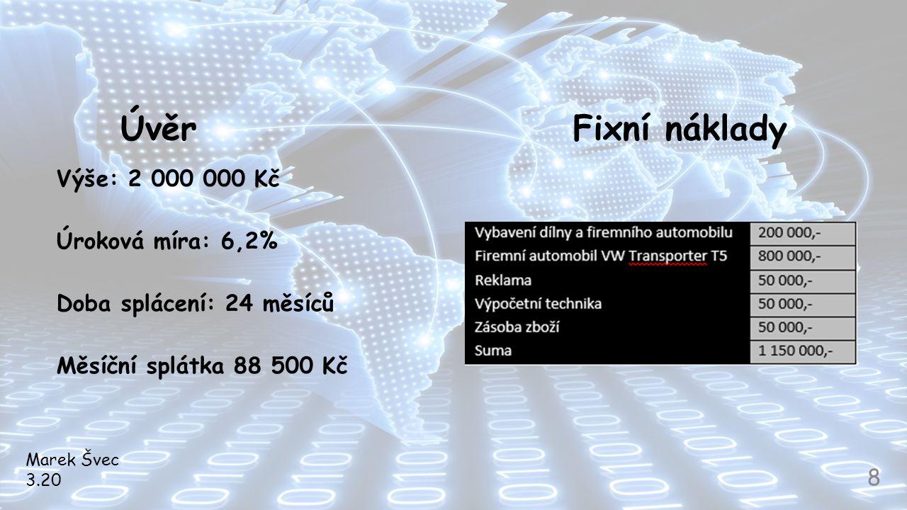 Úvěr Fixní náklady Výše: 2 000 000 Kč Úroková míra: 6,2%