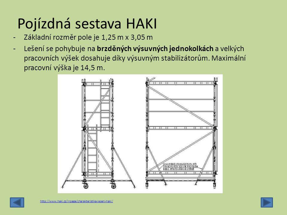 Pojízdná sestava HAKI Základní rozměr pole je 1,25 m x 3,05 m