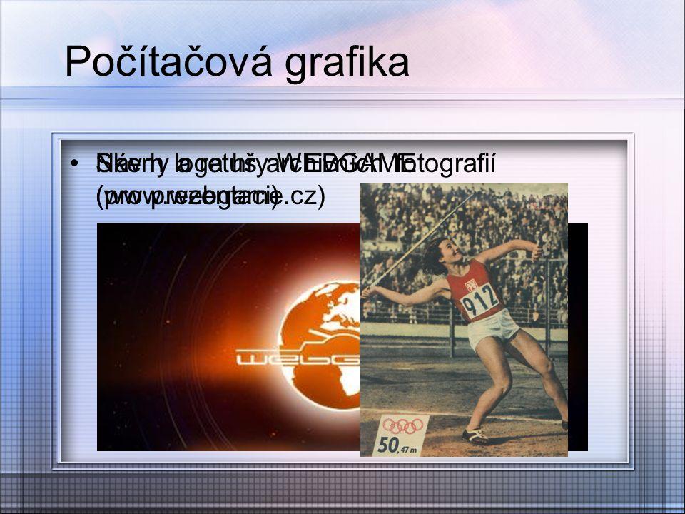Počítačová grafika Skeny a retuš archivních fotografií (pro prezentaci) Návrh loga hry WEBGAME (www.webgame.cz)