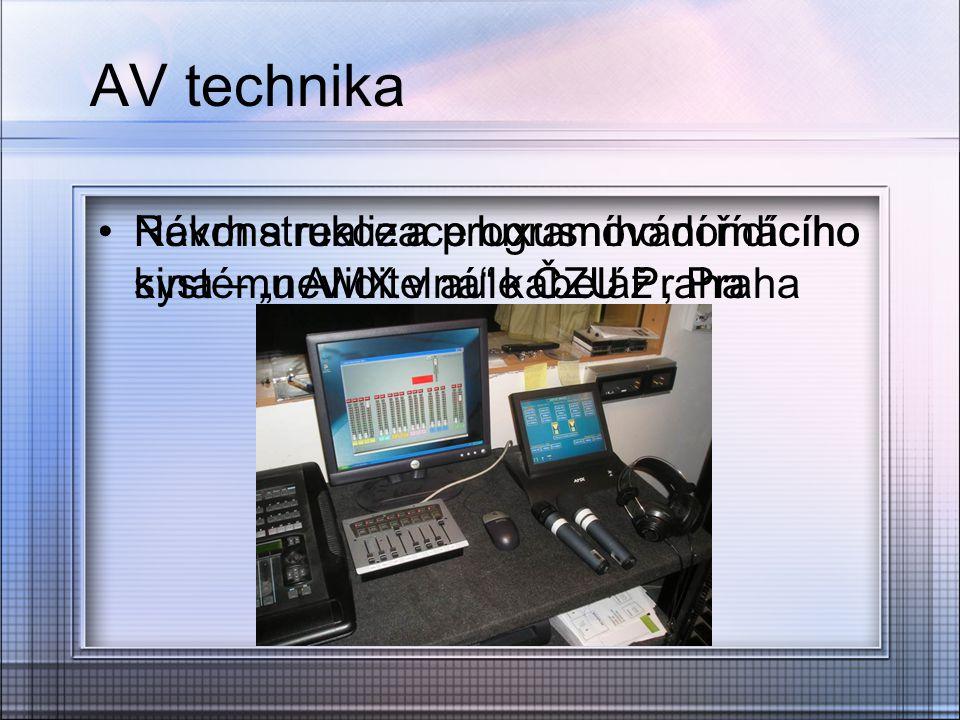 AV technika Rekonstrukce a programování řídícího systému AMX v aule ČZU Praha.