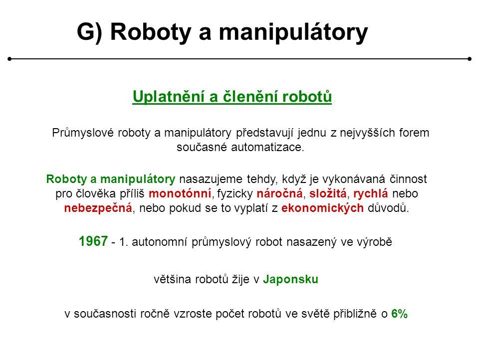 G) Roboty a manipulátory