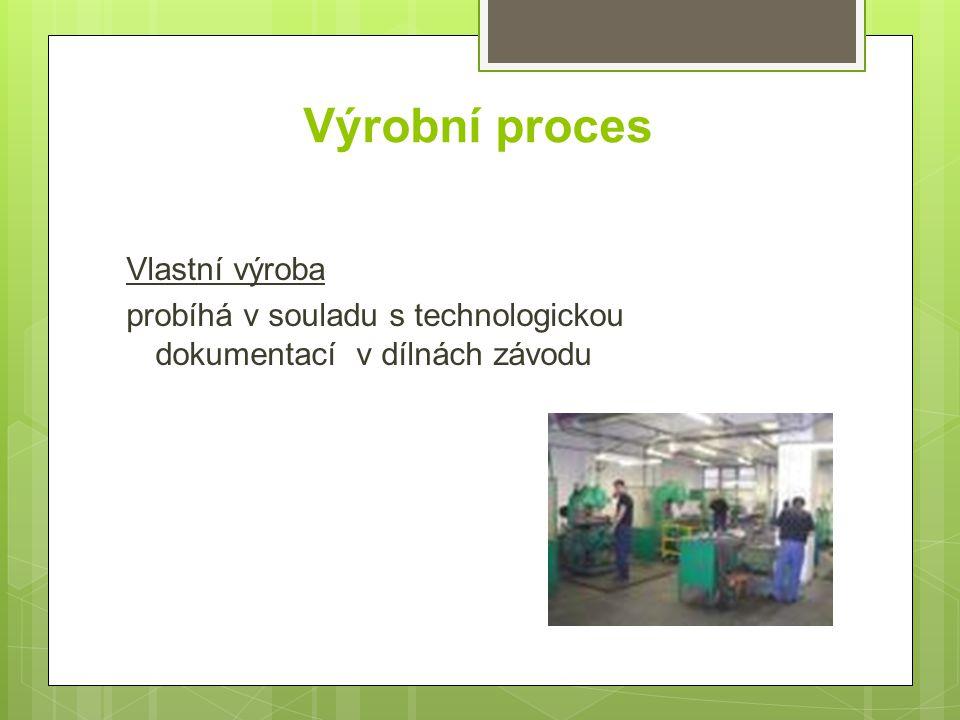 Výrobní proces Vlastní výroba probíhá v souladu s technologickou dokumentací v dílnách závodu