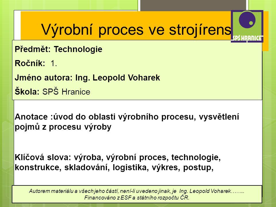 Výrobní proces ve strojírenství