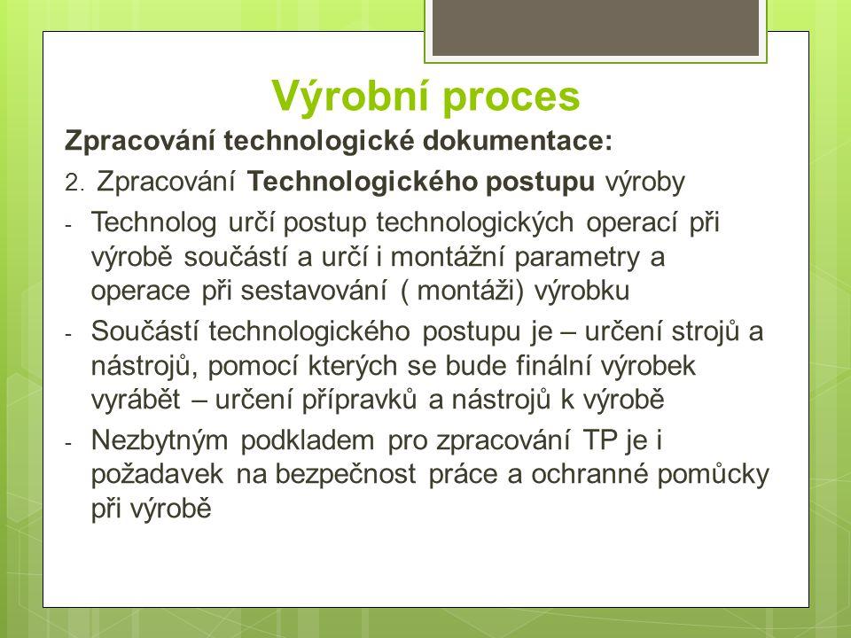 Výrobní proces Zpracování technologické dokumentace: