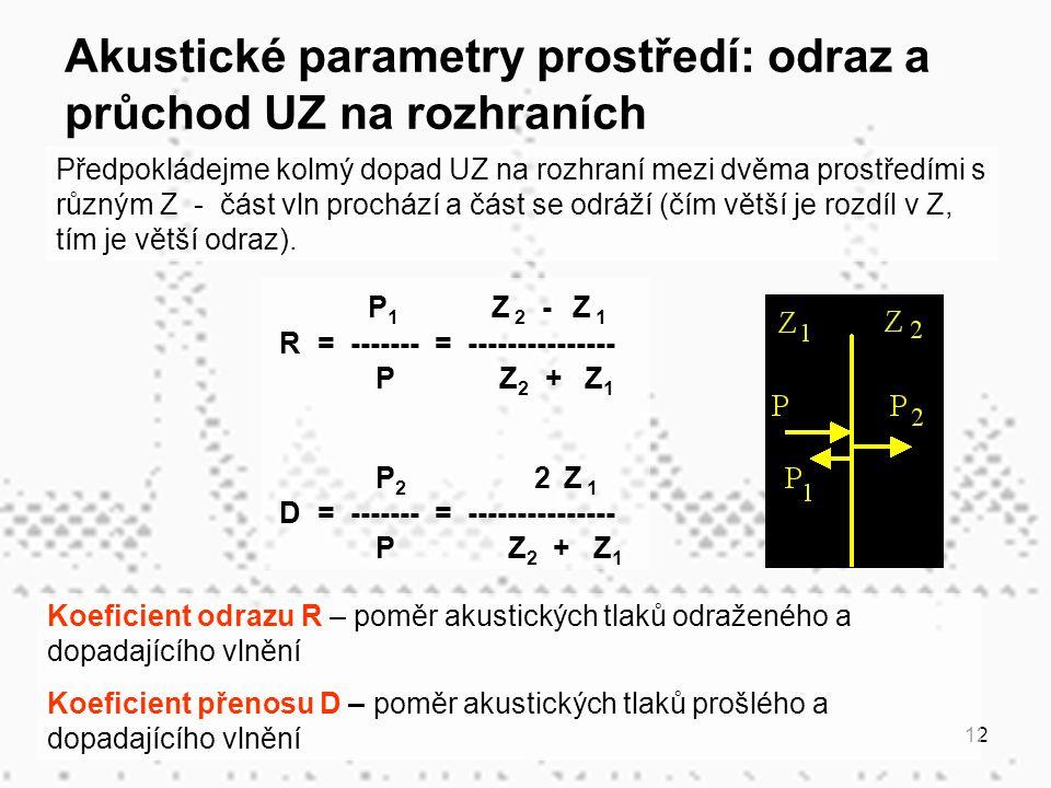 Akustické parametry prostředí: odraz a průchod UZ na rozhraních