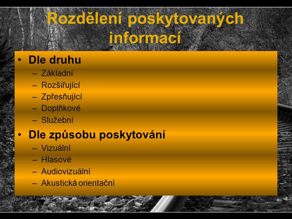 Rozdělení poskytovaných informací