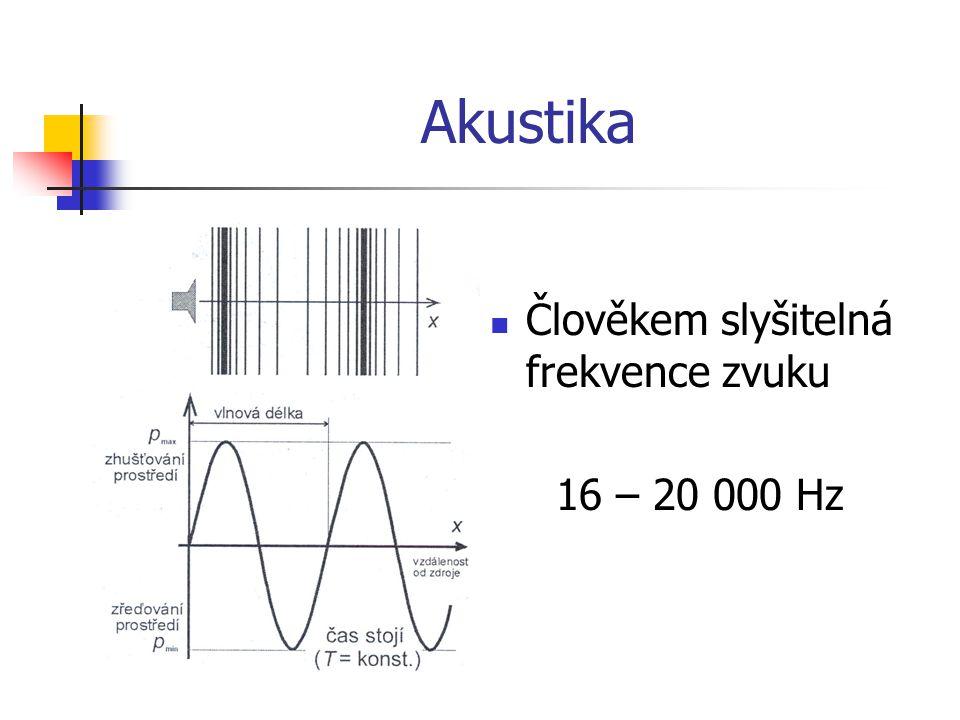 Akustika Člověkem slyšitelná frekvence zvuku 16 – 20 000 Hz