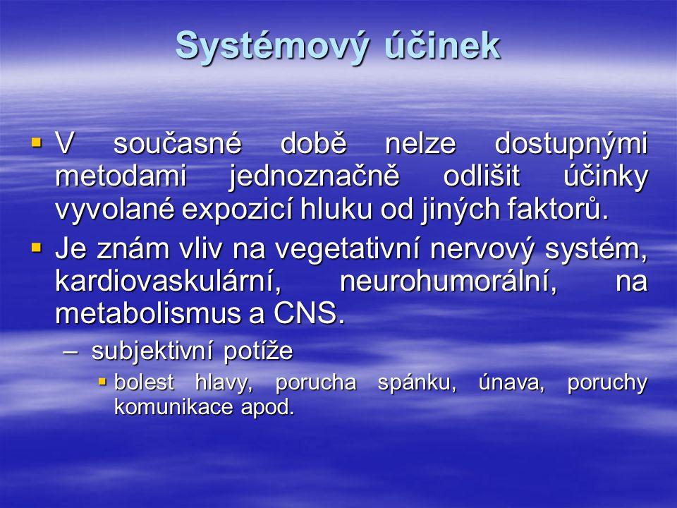 Systémový účinek V současné době nelze dostupnými metodami jednoznačně odlišit účinky vyvolané expozicí hluku od jiných faktorů.