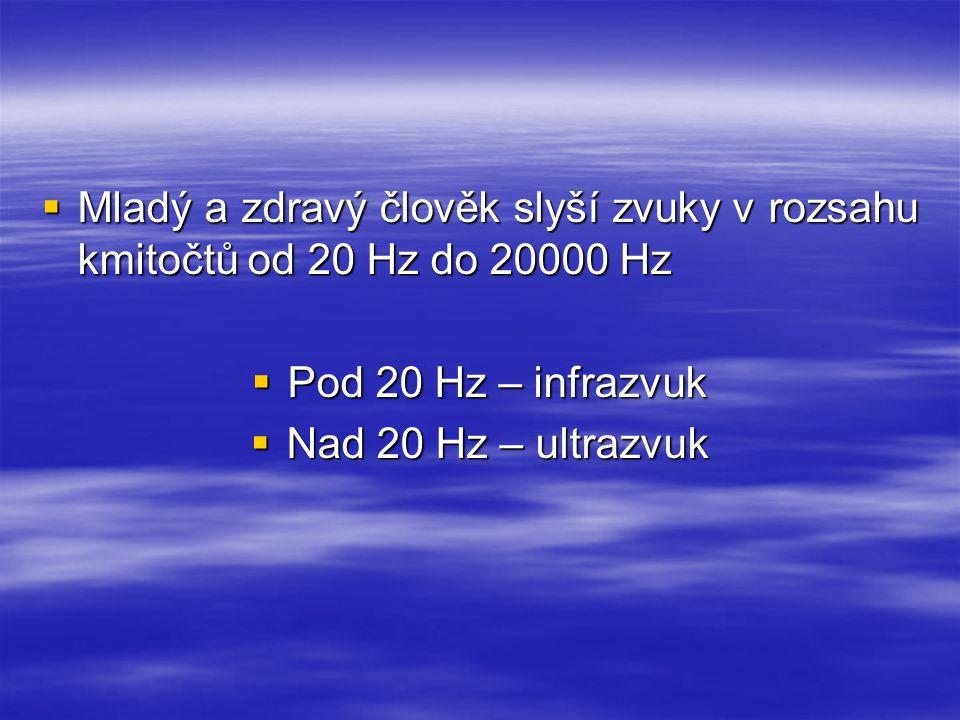 Mladý a zdravý člověk slyší zvuky v rozsahu kmitočtů od 20 Hz do 20000 Hz