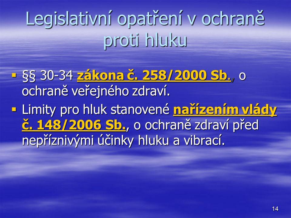 Legislativní opatření v ochraně proti hluku