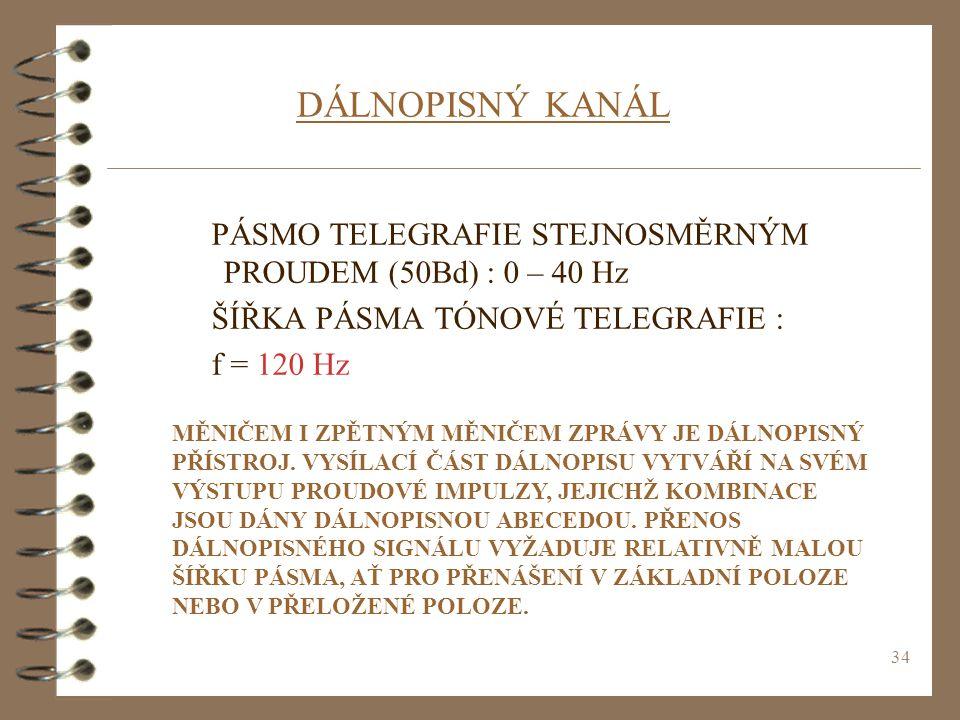 DÁLNOPISNÝ KANÁL PÁSMO TELEGRAFIE STEJNOSMĚRNÝM PROUDEM (50Bd) : 0 – 40 Hz. ŠÍŘKA PÁSMA TÓNOVÉ TELEGRAFIE :