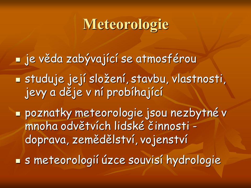 Meteorologie je věda zabývající se atmosférou
