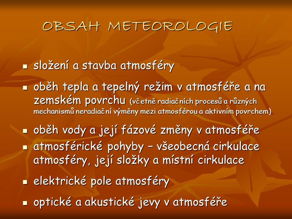 OBSAH METEOROLOGIE složení a stavba atmosféry