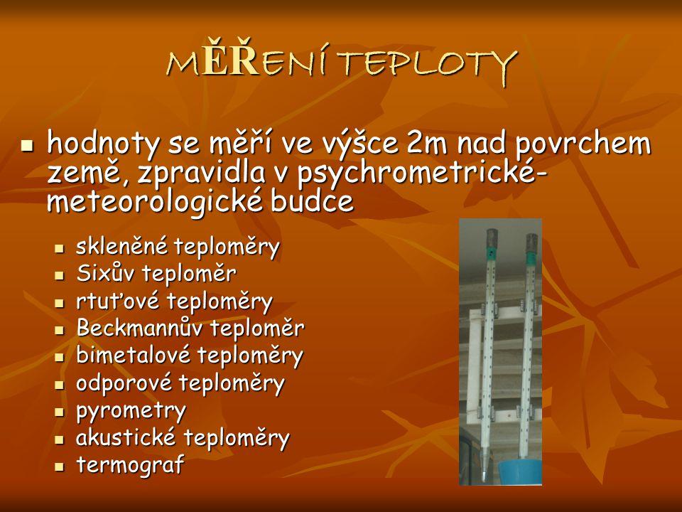 MĚŘENÍ TEPLOTY hodnoty se měří ve výšce 2m nad povrchem země, zpravidla v psychrometrické-meteorologické budce.