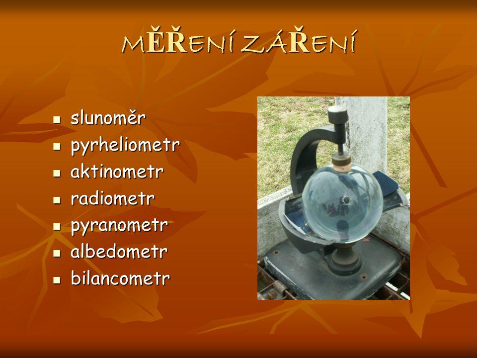 MĚŘENÍ ZÁŘENÍ slunoměr pyrheliometr aktinometr radiometr pyranometr