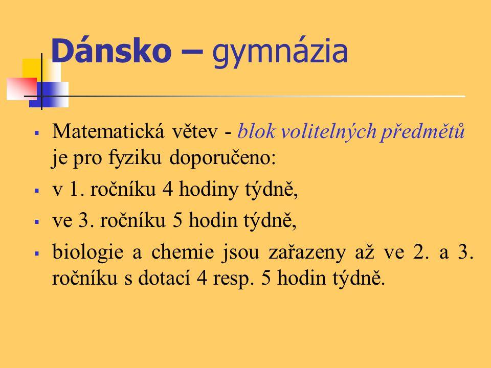 Dánsko – gymnázia Matematická větev - blok volitelných předmětů je pro fyziku doporučeno: v 1. ročníku 4 hodiny týdně,