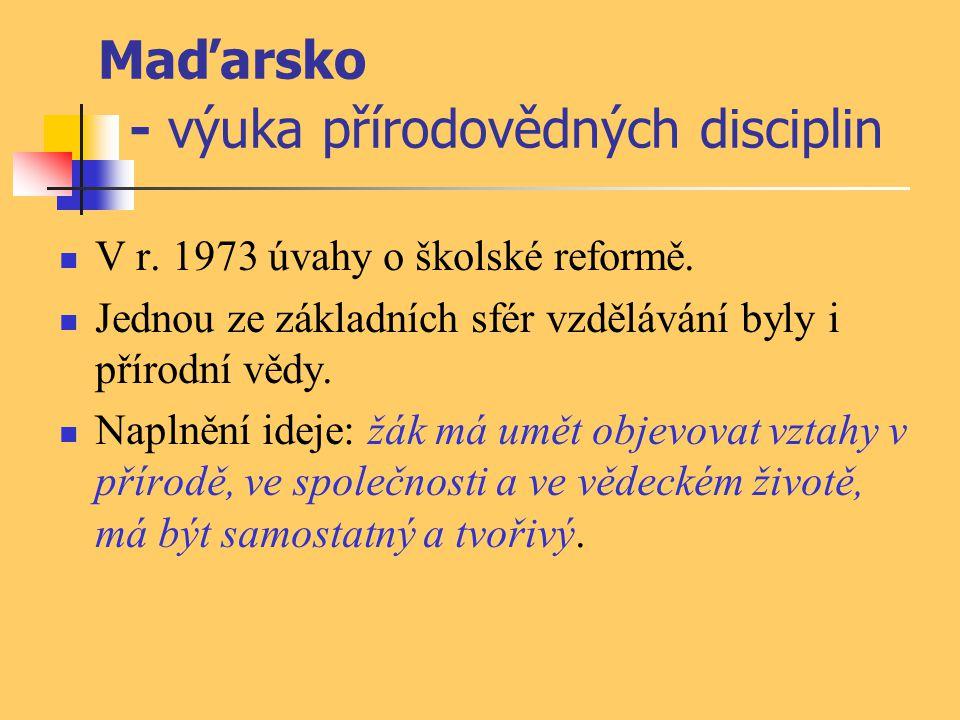 Maďarsko - výuka přírodovědných disciplin