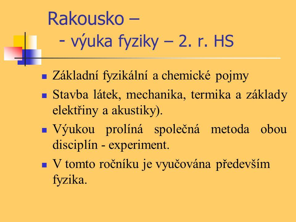 Rakousko – - výuka fyziky – 2. r. HS