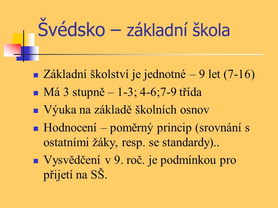 Švédsko – základní škola